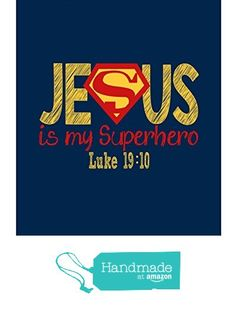 Superman Christian Superhero Nursery Decor Art Print in chalk lettering - Jesus Is My Superhero - Luke - Multiple Sizes from Pixie Paper Dc Superhero Girl, Superhero Wall Art, Superhero Classroom, Superhero Signs, Superhero Ideas, Nursery Prints, Nursery Decor, Room Decor, Chalk Lettering