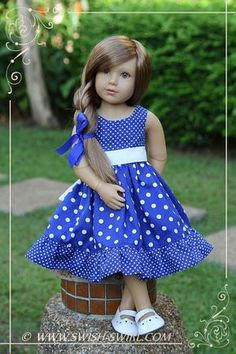 Blue polka dot dress for kidz n cats dolls by swish swirl kidzncats swishandswirl American Doll Clothes, Girl Doll Clothes, Barbie Clothes, Little Girl Dresses, Girls Dresses, Baby Frocks Designs, Baby Dress Design, Girl Dress Patterns, Doll Clothes Patterns