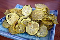 Zucchini and Squash Chips--these are good with dry ranch powder, dill, tomato powder, dry cheese, curry powder, etc.