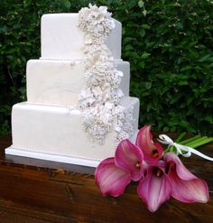 white wedding cake with white grapes and white grape vines cascading in high relief, winter wedding, art cake, wedding-cake-6-02042015nz