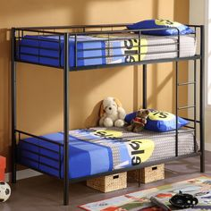 These sturdy black bunk beds are the perfect beds for young boys sharing a room. Made of a durable steel frame, these beds feature a built-in ladder and a safety rail on each side of the top bunk. The beds can also be converted to two twin beds. Bunk Bed Crib, Trundle Bed Frame, Baby Crib Bedding, Two Twin Beds, Twin Bunk Beds, Kid Beds, Twin Twin, Double Beds, Black Bunk Beds