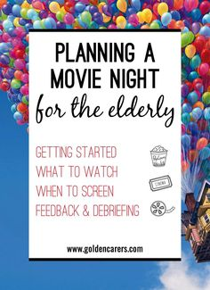 Planning a Movie Night for the Elderly: If you don't already run a regular 'Movie Night' at your facility, try it out! All you need is a large screen, some good speakers, and of course popcorn and ice cream to add to the cinematic experience! Senior Citizen Activities, Senior Games, Elderly Activities, Work Activities, Activity Ideas, Physical Activities, Activity Board, Therapy Activities, Physical Education