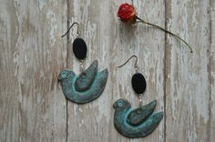 Blue Bird Earrings Turquoise Oxidized Copper by AmbientAtelier