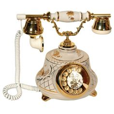 Tombul Porselen Beyaz Antika Telefon
