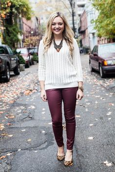 AE Cream Sweater, Old Navy Waxed Jeans- love these pants! Burgundy Outfit, Burgundy Leggings, White Burgundy, Leather Leggings, Sweater Outfits, Casual Outfits, Cute Outfits, Fall Winter Outfits, Autumn Winter Fashion