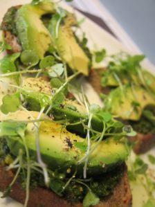 avocado crostini with parsley-pistachio pesto and arugula microgreens: sensational