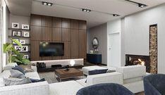 Projekt domu HomeKoncept-26 165,36 m2 - koszt budowy - EXTRADOM Living Room Modern, Home Living Room, Built Ins, House Plans, Room Decor, Sofa, Architecture, Furniture, Design