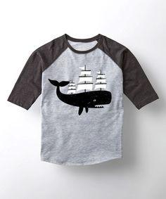 Athletic Heather & Black Whale Ship Raglan Tee - Toddler & Kids #zulily #zulilyfinds