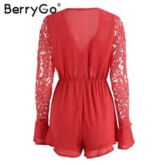 BerryGo Sexy v neck lace summer jumpsuit romper Women hollow out black short playsuit Elegant bow flare long sleeve overalls - TakoFashion - Women's Clothing & Fashion online shop Short Playsuit, Rompers Women, Black Shorts, Ideias Fashion, Fashion Outfits, Fashion Ideas, Summer Jumpsuit, Clothes For Women, Long Sleeve