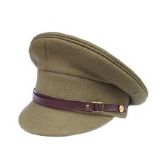New Genuine military issue WWII Style Officers khaki peak cap ($47) ❤ liked on Polyvore featuring accessories, hats, military, army, sombreros, army hat, caps hats, peak cap, military-style hats and military caps hats