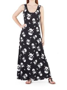 Skull Print Tank Maxi Dress: Dots.com......this needs to be in plus size