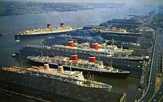 """shipsofyore: """" The New York piers in the From the botton to the top one can see the Independence the SS America the SS United States the TSS Olympia the air craft carrier USS Intrepid the RMS Mauretania. Rms Queen Elizabeth, Queen Mary, Rms Mauretania, Uss Intrepid, Independence Of The Seas, Cruise Port, Cruise Ships, Olympia, New York"""