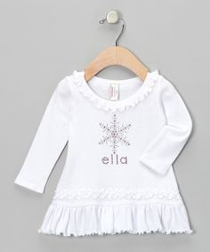 Look what I found on #zulily! White Snowflake Personalized Dress - Infant & Toddler by My Baby Bling #zulilyfinds