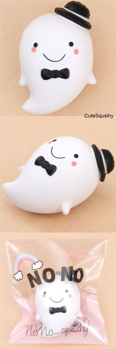 scented white ghost with black hat squishy Kawaii Plush, Kawaii Cute, Kawaii Halloween, Halloween Diy, Splat Balls, Cute Squishies, Biscuit, Stress Toys, Toys For Girls