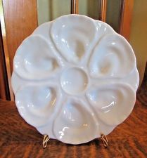 VINTAGE ALL WHITE OYSTER PLATE, UNMARKED