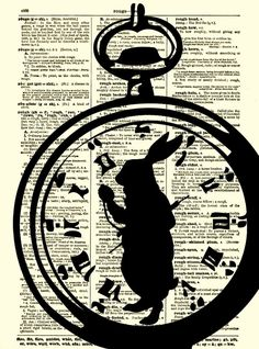 Alice in Wonderland White Rabbit, I'm Late Alice in Wonderland Pocket Watch Dictionary Art Print, White Rabbit Art Print. $10.00, via Etsy.