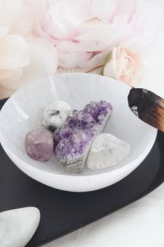 In this crystal set you will receive four beautiful crystals: amethyst cluster, clear quartz tumble stone, rainbow moonstone tumble stone and a lepidolite tumble stone. Each of these crystals has their own magical energy and help to aid in better sleep. Amethyst Cluster, Amethyst Crystal, Crystals For Sleep, Crystal Gifts, Tumbled Stones, Dainty Jewelry, Rainbow Moonstone, Clear Quartz, Treats