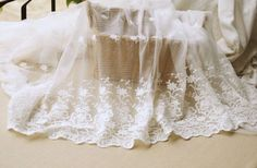 Ivory Floral Lace Fabric Bilateral Embroidered Tulle Fabric Wedding Dress