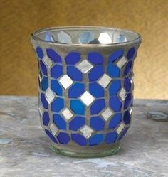 Blue and Silver Mosaic Glass Votive Candle Holders, Set of 6 Glass Votive Candle Holders, Candle Holder Set, Votive Candles, Candle Accessories, Mosaic Glass, Blue And Silver, Decor, Decoration, Decorating