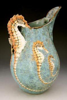 Roger Cockram 'Seahorses' a stoneware Pitcher, 2009 Ceramic Pottery, Pottery Art, Ceramic Art, Ceramic Pitcher, Seahorse Art, Seahorses, Sculptures Céramiques, Beach Cottages, Beach House Decor