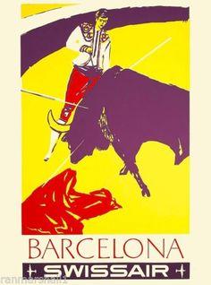 Barcelona Spain Spanish European Europe Vintage Travel Advertisement Poster 02 in Art, Art from Dealers & Resellers, Posters   eBay