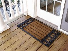 """Wrought Iron Cocoa Mat Size: 1'6"""" x 3' by Design by AKRO. $31.73. 36 in. L x 18 in. W Cocoa Mat makes an excellent door mat for smaller doorways.. Molded design offers a solid base. Decorative motif. Made from coir fiber and rubber. Coir fiber scrapes dirt and debris. C04S1836WI Size: 1'6"""" x 3' Features: -Excellent door mat for smaller doorways.-Coir fiber scrapes dirt and debris.-Design offers a solid base for the mat and decorative motif.-Design: Wrought Iron. Options: -Avai..."""