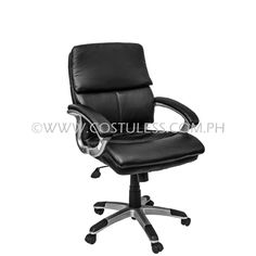 Product Code: MBC-133  Sale Price:	P5 999.00  Decription: Executive Mid Back Man made leather chair, reclign mechanism, pneumatic height adjustment,  tilt lock mechanism 360˚ Swivel Function  Product Measurement: 54L x 50W x 103-108Hcm  Chair Capacity: 100kgs.  Classification: MEDIUM DUTY  Usage: OFFICE USE