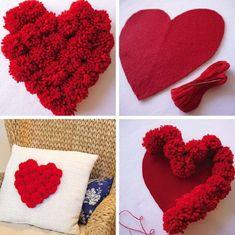 Valentine's Day Favors – 45 Creative and Cheap Ideas - Valentinstag Pom Pom Crafts, Flower Crafts, Yarn Crafts, Diy And Crafts, Crafts For Kids, Paper Crafts, Valentines Day Decorations, Valentine Day Crafts, Valentine Ideas