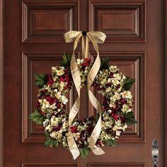 Holiday Wreaths | Christmas Wreath | Blended Hydrangea Wreath | Front Door  Wreath | Seasonal Wreath