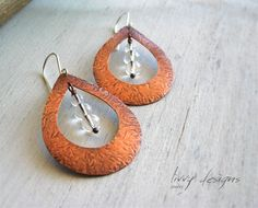 Textured copper earrings, crystal rock beads.