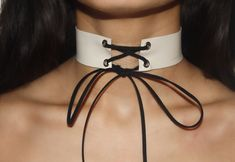 White genuine leather all tied up choker