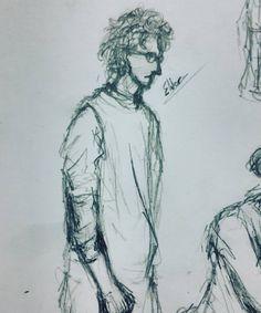 "Drawing friends ""Eldar"" ( ͡° ͜ʖ ͡°) #drawing #art #traditional #man #sketches #art🎨 #classmate #friends #notebook #eldar #curlyhair #school #boringschoolday #highschool #duringclass #doodle"