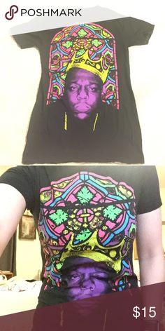 Biggie T Black T with neon picture of Biggie Smalls Tops Tees - Short Sleeve