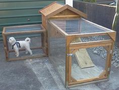 How to build a DIY dog run. This dog run has an attached kennel that is elevated off the ground. If you need to confine your dog for short periods of time this is a good alternative to tying your dog up. Your dog will love you for it. Dog Kennel And Run, Diy Dog Kennel, Pet Kennels, Dog House With Porch, Duck House, Diy Dog Run, Dog Friendly Backyard, Cool Dog Houses, Cat Houses