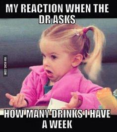 How many drinks I have a week..... Ummmmm