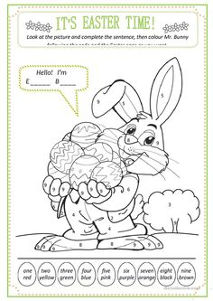 Easter: colour by numbers - English ESL Worksheets for distance learning and physical classrooms Back To School Worksheets, Shapes Worksheet Kindergarten, 1st Grade Worksheets, Easter Worksheets, Worksheets For Kids, Easter Colouring, Coloring For Kids, Easter Photo Frames, Easter Activities For Kids