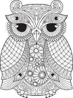 OWL Coloring Pages for Adults. Free Detailed Owl Coloring Pages Owl Coloring Pages, Coloring Pages For Grown Ups, Colouring Pics, Mandala Coloring Pages, Printable Coloring Pages, Coloring Books, Mandalas Drawing, Mandala Art, Zentangles