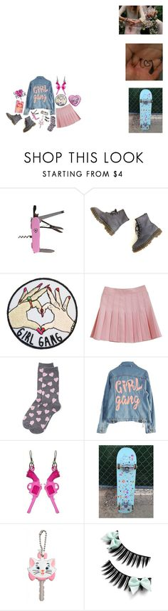 """""""girl gang contest"""" by iamdeadpoetry ❤ liked on Polyvore featuring Dr. Martens, New York & Company, High Heels Suicide, Paul Frank, Pink, skate and girlgang"""