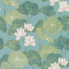 World Menagerie Dardanelle Lily Pads Peel and Stick Wallpaper Roll Color: Aqua/Green Tropical Wallpaper, Wallpaper Roll, Peel And Stick Wallpaper, Wall Wallpaper, Wallpaper Backgrounds, Iphone Wallpaper, Wallpaper Online, Pink And Green Wallpaper, Botanical Wallpaper