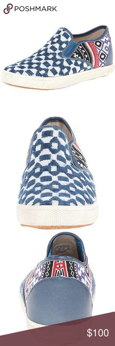"""KIM & ZOZI Blue Print Slip On Sneakers NIB $129 7 Blue woven printed construction. Round toe. Dual goring. Slip-on. Uppers: textile outsole material. Outsole material: rubber. Fit: true to size. Heel height: .5"""" NIB $129 Size 7 Kim & Zozi Shoes Sneakers"""