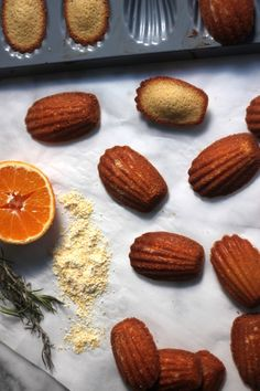 Orange Honey Madeleines - Soft, cake like cookies are lightly flavored with honey and orange! These are so lovely!