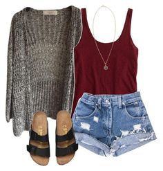 #summer #outfits / Burgundy Tank Top + Grey Cardigan