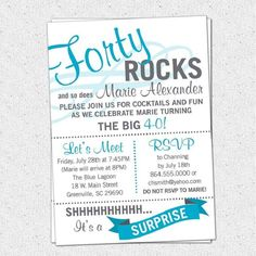 Forty ROCKS Birthday Party Bash Invitation, Surprise, Milestone, Pick Your Colors, SET OF 10 - invitation wording 40th Birthday Invitation Wording, Birthday Party Invitations Free, 40th Birthday Parties, 40 Birthday, Funny Birthday, Wedding Invitations, Birthday Sayings, Mother Birthday, Birthday Celebrations