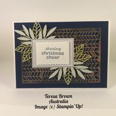 Sorry no live tonight. If you missed Crafty Thursday I did get on today so check it out and enjoy A little bit of Christmas.  Forever Gold Laser-cut SDSP Tailored Tag Punch, Stiched Star Dies, stamp set Warm & Toasty (Mini Catalogue) Stampin' Blends.  Have a great Night TERESA xx Have A Great Night, Image C, On Today, Stampin Up Cards, Laser Cutting, Punch, Thursday, Warm, Crafty