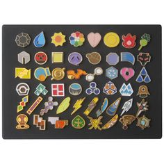 Full Set of Pokemon Gym Badges with Canvas Board - Set of 50 Lapel Pin Badges