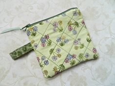 Cute Flower Quilted Coin Purse Pouch  READY TO by CyndeesGarden, $6.00