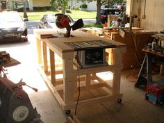 Miter saw and table saw on a cart...sweet