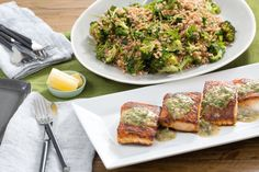 Seared Salmon with Roasted Broccoli & Farro Salad AB: Fantastic dish!  Only recommendation would be to cook down the shallots just a bit in EVOO vs eating raw.  They were a bit too strong.  Would eat the farro salad on it's own. @blueapron