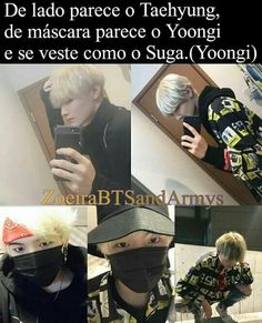 Translate (From the side he looks like Taehyung, with a mask on he looks like Yoongi, he dresses like Yoongi) Bts Suga, Bts Bangtan Boy, Shawn Mendes Memes, Kpop Memes, Bts Imagine, Bts Photo, Jikook, Funny Moments, Boy Groups