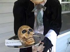 Haunted Halloween Prop Animated Butler Talking Skull